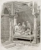Young Brahmin in temple in Benares, old illustration. Created by Best and Francais after Prinsep. Pu