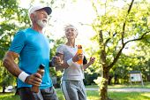 Healthy Mature Couple Jogging In A Park At Early Morning With Sunrise poster