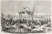 australische Begräbnis in der Wüste. erstellt von Dore nach den Wanderungen auf den Antipoden, veröffentlicht am le