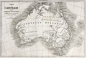 Australia old map. Created by Vuillemin and Erhard, published on Le Tour du Monde, Paris, 1860