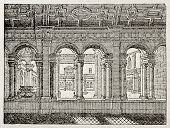 Celestins Cloister old illustration, then profanated during French revolution and demolished. By uni