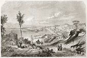 Messina old view, Sicily. Created by Rouargue, published on Le Tour du Monde, Paris, 1860