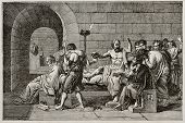 Socrates death old illustration, after tablet of David, published on Magasin Pittoresque, Paris, 184