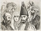 Persian men and woman old illustration. Created by Laurens, published on Le Tour du Monde, Paris, 18