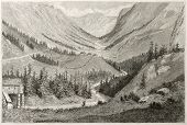 Vestfjord valley old view, Norway. Created by Dore after Riant, published on Le Tour du Monde, Paris