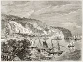 Saint Pierre old view, Martinique.  Created by De Berard, published on Le Tour du Monde, Paris, 1860