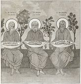 The Three Patriarches, painting in Monastery of Great Lavra refectory, Mount Athos, Greece. Created by Therond after photo by unknown author, published on Le Tour du Monde, Paris, 1860