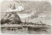 Bora Bora ancoragem e pico Recife antiga visão. Criado por De Berard, publicado em Le Tour du Monde, Par