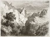Gorge de Trente-Pas old view, France. Created by Girardet after Muston, published on Le Tour du Mond