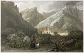 Capuchin Convent old view, Taormina surroundings, Sicily, Created by De Wint and Health, printed by McQueen, publ. in London, 1821. Ed. on Sicilian Scenery, Rodwell and Martins, London, 1823