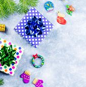 Festive Christmas Background With Fir Branches, Christmas Symbols, Giftboxes, Colorful Decorations,  poster