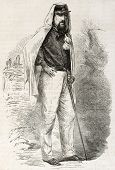 Marquis Gaspere Trecchi old engraved portrait, assistant of Garibaldi. Created by Godefroy-Durand after photo of Duroni and Murer, published on L'Illustration, Journal Universel, Paris, 1860