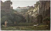 Capuchins convent near Syracuse, over Latonie (antique stone quarries), Sicily. By De Wint and Hearth, printed by McQueen, London, 1821. Ed. on Sicilian Scenery, Rodwell and Martins, London, 1823