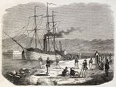 Garibaldian outpost in Messina, old illustration, Sicily. By unidentified author, published on L'Illustration, Journal Universel, Paris, 1860