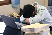 Businessmen Are Under Stress From Hard Work. The Headache Is Not Refreshed, Lose Health And Mental H poster