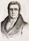 Augustin Pyramus de Candolle old engraved portrait (Swiss botanist). Created by Gigoux, published on Magasin Pittoresque, Paris, 1842