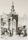 Market fountain old illustration, Mainz, Germany. Created by Girardet, published on Magasin Pittoresque, Paris, 1842