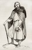 Gaul man wearing bardocucullus (hooded short cape). By unidentified author, published on Magasin Pittoresque, Paris, 1842