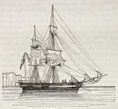 Quaiche old illustration, antique vessel. By unidentified author, published on Magasin Pittoresque,