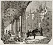 Angers museum court old illustration, France. Created by Saint-Germain, published on Magasin Pittoresque, Paris, 1842
