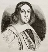 Pierre de Fermat old engraved portrait, French lawyer and mathematician. By unidentified author, pub