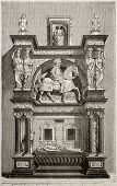 Louis de Breze tomb old illustration (French nobleman), Rouen Cathedral. By unidentified author, published on Magasin Pittoresque, Paris, 1843