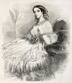 Duchess of Alba old engraved portrait. Created by Janet-Lange, published on L'Illustration, Journal Universel, Paris, 1860