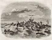 Sailors on a boat fighting against walruses. Created by Himeli after Buchanan, published on Magasin Pittoresque, Paris, 1843