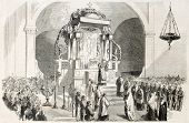 Messina cathedral interior, Italy: announcement of the victory against Neapolitans. Created by Worms, published on L'Illustration, Journal Universel, Paris, 1860