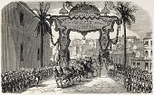 stock photo of algiers  - Napoleon III and Empress Eugenie landing in Algiers - JPG