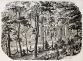 Luxembourg gardens fountain old illustration. Created by Provost, published on L'Illustration, Journ