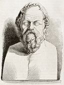 Socrates bust kept in Louvre museum, old illustration. By unidentified author, published on Magasin