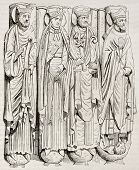 Statues of Saint-Germain-des-Pres abbey porch. By unidentified author, published on Magasin Pittores