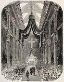 Jerome Bonaparte funeral service, old illustration. Created by Blanchard, published on L'Illustration, Journal Universel, Paris, 1860