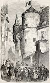 Napoleon III and Empress Eugenie procession in front of Grenoble prefecture, France. Created by Gaildrau,  published on L'Illustration, Journal Universel, Paris, 1860