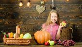 Kid Girl Spend Childhood Farm. Basket Full Fresh Vegetables Harvest. Gathering Harvest Traditions. H poster