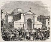 Bonaparte family chapel in Ajaccio. Created by Gaildrau, published on L'Illustration, Journal Universel, Paris, 1860