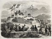 Napoleon III and Empress Eugenie arrival in Nice castle end of promenade. Created by Provost, published on L'Illustration, Journal Universel, Paris, 1860