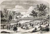 Jardin d'Acclimatation old view, Bois de Boulogne, Paris. Created by Provost, published on L'Illustr