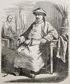 Nicolas Mana old engraved portrait, Shanghai, China mission. Created by Grandsire, published on L'Illustration, Journal Universel, Paris, 1860