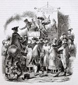 French Charlatan in 18th century. Created by Wattier after Duplessis-Bertaut, published on Magasin P