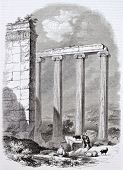 Ionic temple ruins in Azania, Asia Minor. Created by Delabord, Becker and Hall, published on Magasin