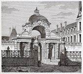 Porte Dauphine in Fontainebleau castle. By unidentified author, published on Magasin Pittoresque, Pa