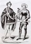 French medieval costumes old illustration: two gendarmes. Created by Mifliez, published on Magasin P