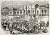 Yuan-Ming-Yuan palace occupation by French troops in Beijing, then destroyed in retaliation. Created by Godefroy-Durand after Marchal, published on L'Illustration, Journal Universel, Paris, 1860
