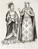 Blanche of Castile and Margaret of Provence old engraved portraits. Created by Montfaucon, published