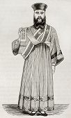 Old illustration of Greek orthodox deacon vestment. Created by Durand, published on Magasin Pittores