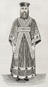 Old illustration of Greek orthodox lower deacon vestment. Created by Durand, published on Magasin Pi