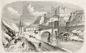 Alcantara bridge and The Alcazar in background, Toledo. Created by Rouargue, published on L'Illustra