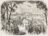 French Imperial Music Academy: Sacountata ballet, second act. Created by Godefroy-Durand after d?cor of Nolau and Rube, published on L'Illustration, Journal Universel, Paris, 1858 poster